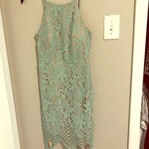 Elegant green laced dress